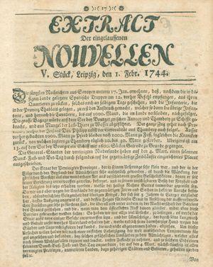 Extract der eingelauffenen Nouvellen vom 01.02.1744