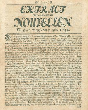 Extract der eingelauffenen Nouvellen vom 08.02.1744