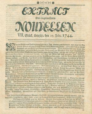 Extract der eingelauffenen Nouvellen vom 15.02.1744