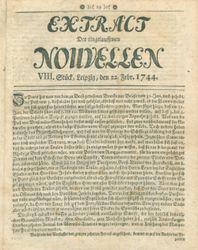 Extract der eingelauffenen Nouvellen (22.02.1744)