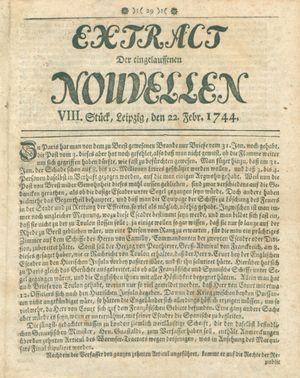 Extract der eingelauffenen Nouvellen vom 22.02.1744