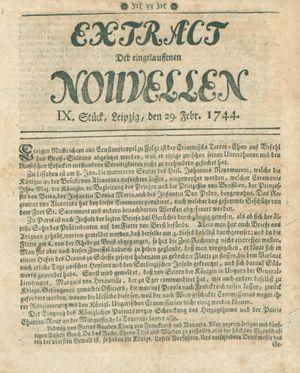 Extract der eingelauffenen Nouvellen vom 29.02.1744