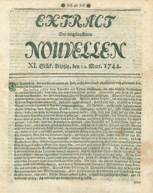 Extract der eingelauffenen Nouvellen vom 14.03.1744