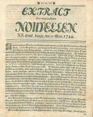 Extract der eingelauffenen Nouvellen vom 21.03.1744