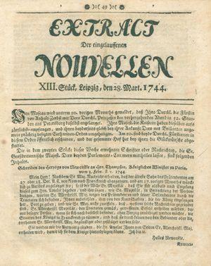 Extract der eingelauffenen Nouvellen vom 28.03.1744
