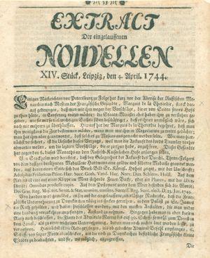 Extract der eingelauffenen Nouvellen vom 04.04.1744