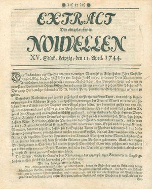 Extract der eingelauffenen Nouvellen vom 11.04.1744