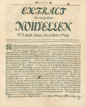 Extract der eingelauffenen Nouvellen vom 18.04.1744