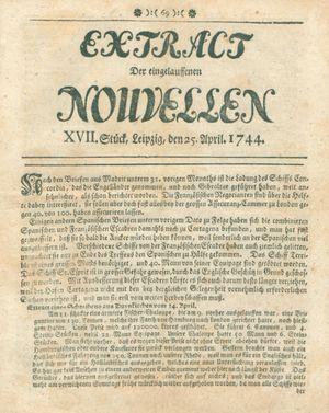 Extract der eingelauffenen Nouvellen vom 25.04.1744
