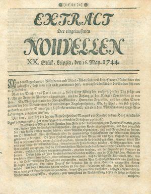 Extract der eingelauffenen Nouvellen vom 16.05.1744