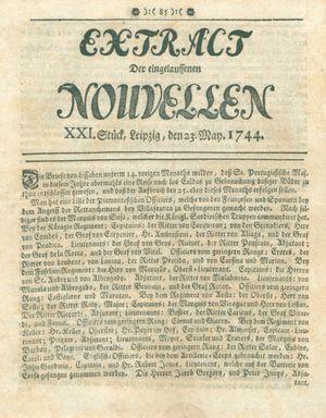 Extract der eingelauffenen Nouvellen vom 23.05.1744