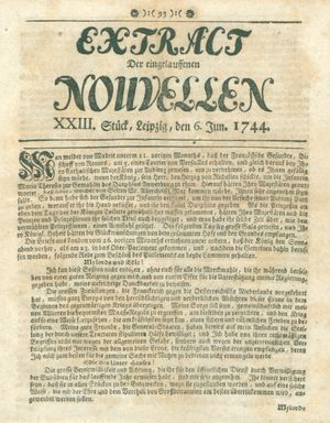Extract der eingelauffenen Nouvellen vom 06.06.1744
