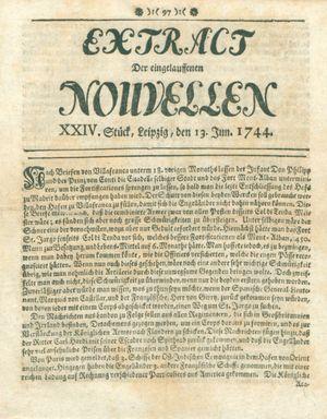 Extract der eingelauffenen Nouvellen vom 13.06.1744