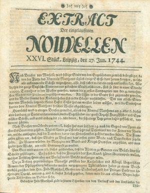 Extract der eingelauffenen Nouvellen vom 27.06.1744