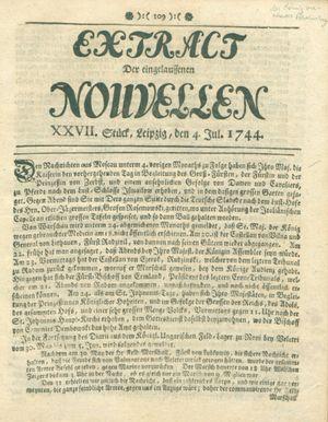 Extract der eingelauffenen Nouvellen vom 04.07.1744