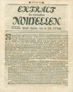 Extract der eingelauffenen Nouvellen vom 18.07.1744