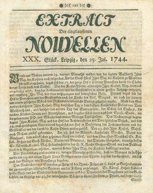Extract der eingelauffenen Nouvellen vom 25.07.1744