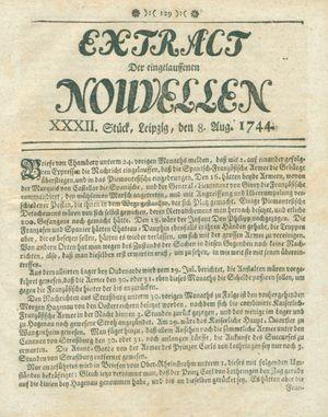 Extract der eingelauffenen Nouvellen vom 08.08.1744