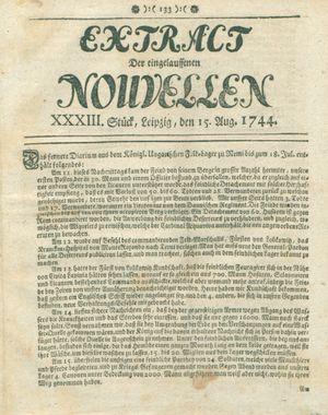 Extract der eingelauffenen Nouvellen on Aug 15, 1744