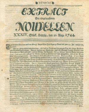 Extract der eingelauffenen Nouvellen vom 22.08.1744