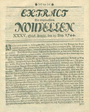 Extract der eingelauffenen Nouvellen vom 29.08.1744