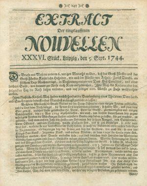 Extract der eingelauffenen Nouvellen vom 05.09.1744