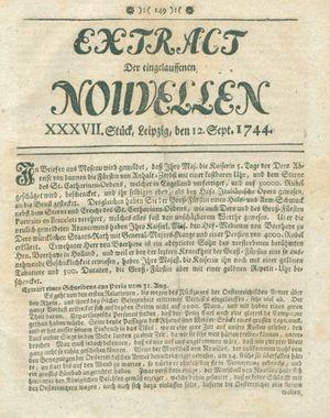 Extract der eingelauffenen Nouvellen vom 12.09.1744