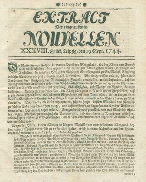 Extract der eingelauffenen Nouvellen vom 19.09.1744