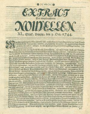 Extract der eingelauffenen Nouvellen vom 03.10.1744