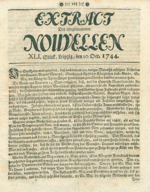 Extract der eingelauffenen Nouvellen vom 10.10.1744