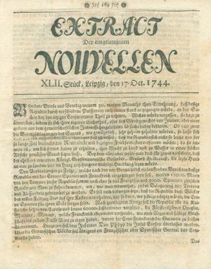 Extract der eingelauffenen Nouvellen vom 17.10.1744