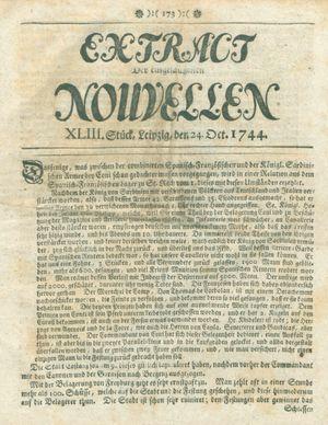 Extract der eingelauffenen Nouvellen vom 24.10.1744