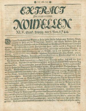 Extract der eingelauffenen Nouvellen vom 07.11.1744
