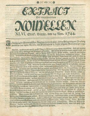 Extract der eingelauffenen Nouvellen vom 14.11.1744