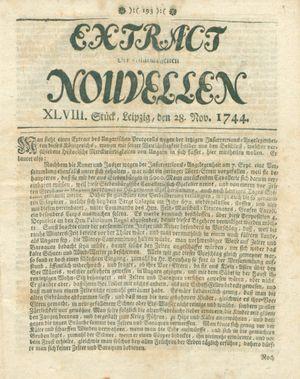 Extract der eingelauffenen Nouvellen vom 28.11.1744