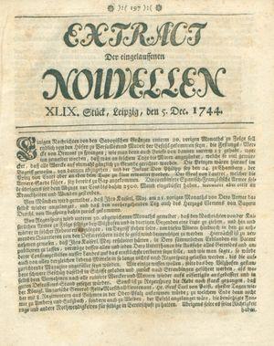 Extract der eingelauffenen Nouvellen vom 05.12.1744