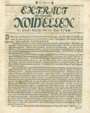 Extract der eingelauffenen Nouvellen vom 12.12.1744