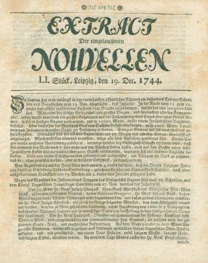 Extract der eingelauffenen Nouvellen vom 19.12.1744