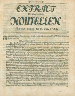Extract der eingelauffenen Nouvellen vom 26.12.1744