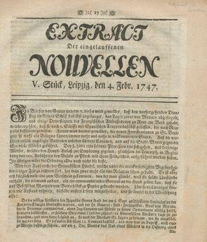 Extract der eingelauffenen Nouvellen vom 04.02.1747