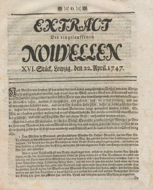 Extract der eingelauffenen Nouvellen vom 22.04.1747