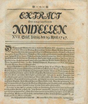 Extract der eingelauffenen Nouvellen vom 29.04.1747