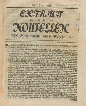 Extract der eingelauffenen Nouvellen on May 13, 1747