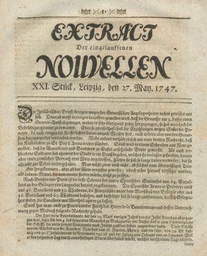 Extract der eingelauffenen Nouvellen vom 27.05.1747