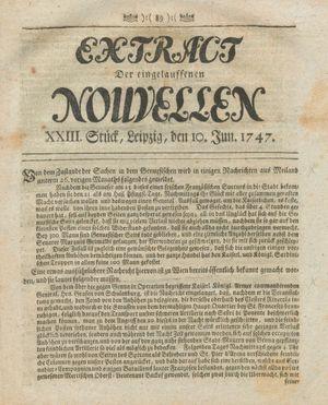 Extract der eingelauffenen Nouvellen vom 10.06.1747