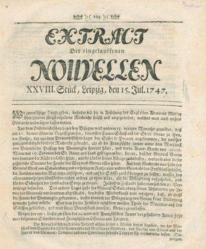 Extract der eingelauffenen Nouvellen vom 15.07.1747