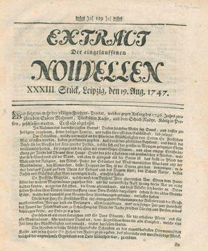 Extract der eingelauffenen Nouvellen vom 19.08.1747