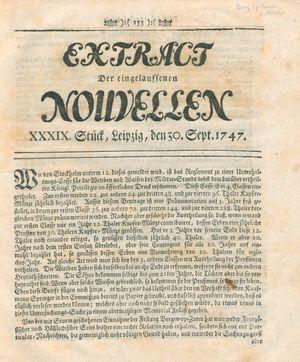 Extract der eingelauffenen Nouvellen vom 30.09.1747