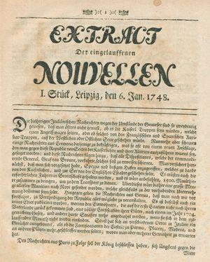 Extract der eingelauffenen Nouvellen vom 06.01.1748