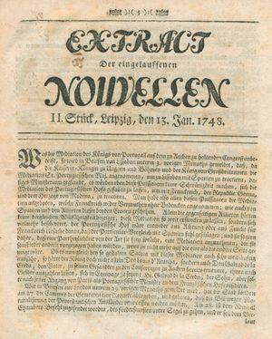 Extract der eingelauffenen Nouvellen vom 13.01.1748